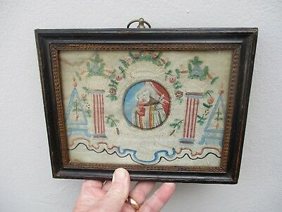 A 17th Early 18th Century Folk Art Pin Work & Painted Picture c1680/1730