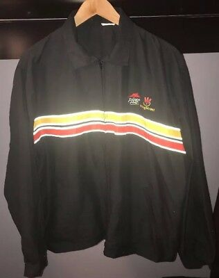 Pizza Hut Jacket Full Zip Black With Red and Yellow Stripes Reflectors Men XL