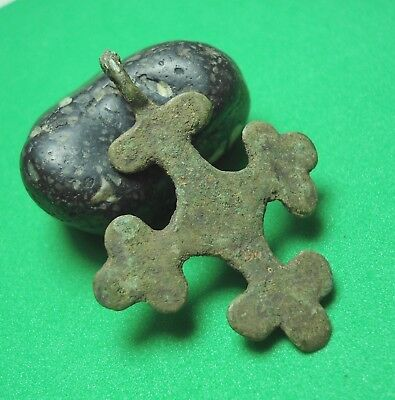 Ancient Bronze Cross Wearable Pendant Antique 9-13th century C81