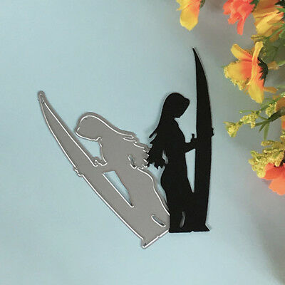Surfing girl Design Metal Cutting Die For DIY Scrapbooking Album Paper Card_S