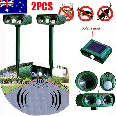 Ultrasonic Bird & Animal Repeller Pest Repellent with Solar Power Plate AU Local