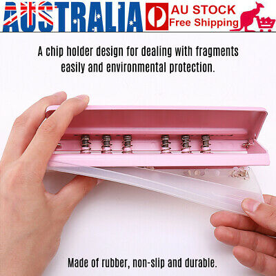 Adjustable 6-Hole Desk Puncher for A4 A5 A6 B7 Dairy Planner 6Sheet 6Ring Binder
