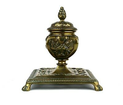 Antique Victorian Brass Inkwell Pedestal Floral Paw Pad Feet