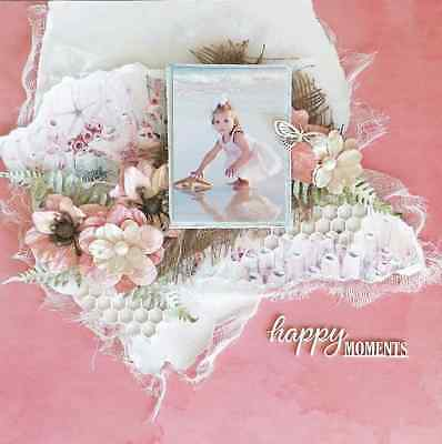"Handmade Pre-made Mixed Media 12"" x 12"" Scrapbook Page Layout - Happy Moments"