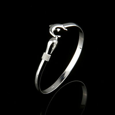 Wholesale European Fashion Jewelry Solid Silver Dolphin Clasp Bangle Bracelet 2N