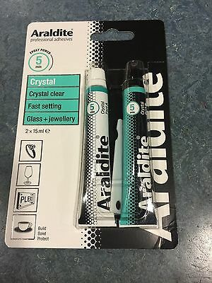 Araldite Adhesive Crystal Clear Epoxy Glue For Glass And Jewellery 2X15Ml