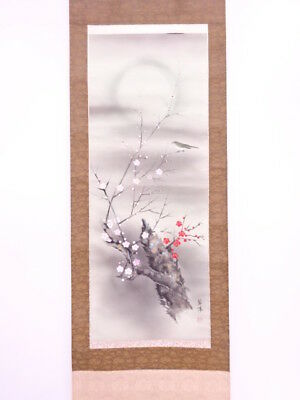 3801672: Japanese Wall Hanging Scroll / Hand Painted / Ume Blossom With Nighting