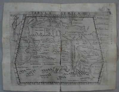 Africa Egypt Lybia Nile copper map Claudius Ptolemaeus - Geografia Münster 1548