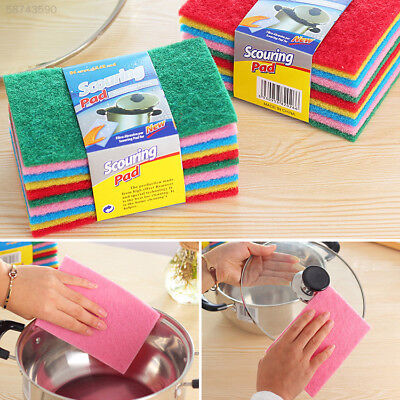 5A6B 10pcs Scouring Pads Cleaning Cloth Dish Towel Kitchen Home Scour Scrub