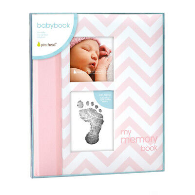 NEW Pearhead Baby Book Chevron - Pink