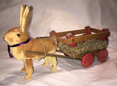 Antique Composition Easter Rabbit Pulling Loofah Cart
