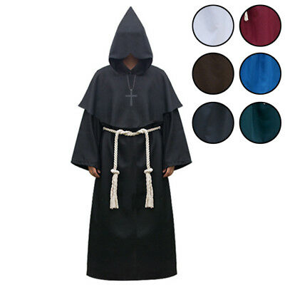 Halloween Hooded Cape Costumes Cloak for Women and Men Cosplay Wizard Sorcerer