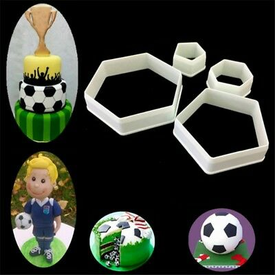 4 Pcs Football Shaped Cookie Cutter Cake Fondant Mold Sugarcraft Baking Tools