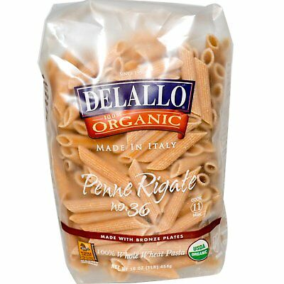 DeLallo, Penne Rigate No. 36, 100% Organic Whole Wheat Pasta, 16 oz (454 g)
