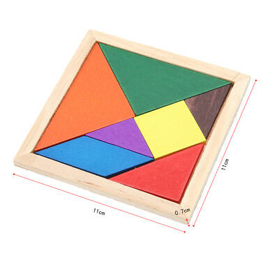 DIY Kids Wooden Square Board Jigsaw Tangram Puzzle Educational Brain Teaser Toys