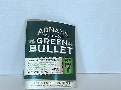 ADNAMS GREEN BULLET BREWERS  beer pump clip badge USED SIGN FREE P&P