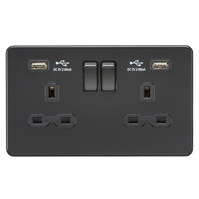 Knightsbridge Screwless Switches And Sockets Matt Black With Black Rockers