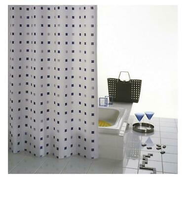 GRUND Piazze Shower Curtain BLUE/WHITE SQUARES, 180 X 200cm
