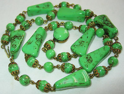 Antique Art Deco Czech Green Peking Glass Long Beaded Necklace with Box