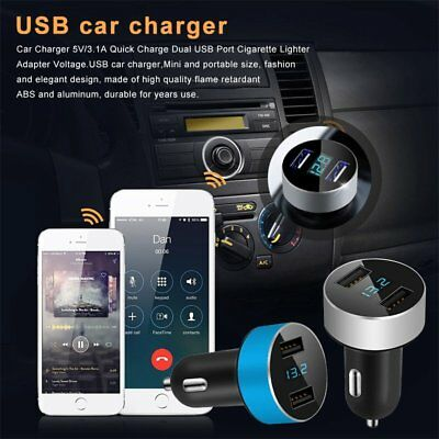 Dual USB Port Car Charger 5V/3.1A LED Cigarette Lighter Adapter Quick Charger