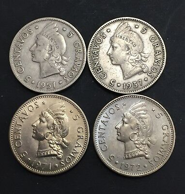 Dominican Republic 1937, 1951, 1971, 1972 5 Cents Coin Lot