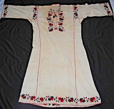 Vintage Romanian Hand Embroidered Dress Gown Red Black Gauze Caftan Signed Neni
