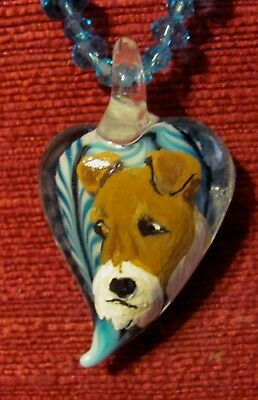 Wire Fox Terrier hand painted on Murano glass heart pendant/bead/necklace