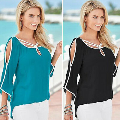 Womens Blouse Summer Cold Shoulder Top 3/4 Sleeve T-Shirt Loose Casual Tee Shirt