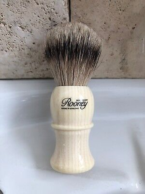 R.A. Rooney Shaving Brush, Large Best Badger Hair Shaving Brush in Faux Ivory