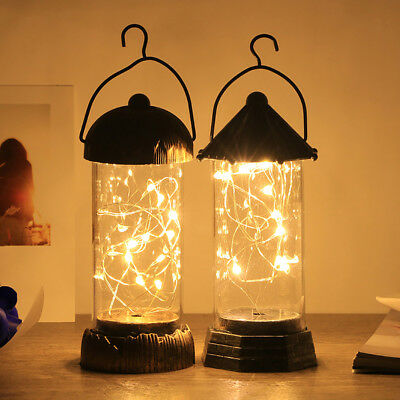 Vintage Desktop Table Lamp Shiny Filament Handle Hanging Light Xmas Decor Cool