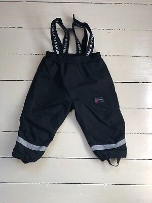 Polarn O Pyret waterproof dungarees trousers baby girls or boys 9 months black