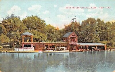 Boat House Central Park New York City-Bosselman Published Postcard 1910