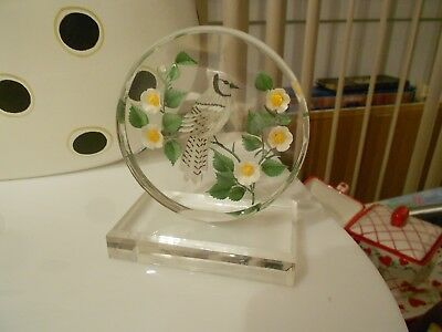 "bird etching in lucite stand -very good-4 1/2"" x 3 3/4"" x 2 1/4"""