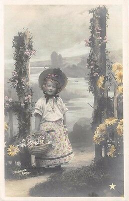 Young Girl~Dress & Hat~Flower Basket~Stebbins Of Paris Real Photo Postcard 1905