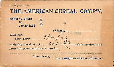 Chicago Il American Cereal Company-Became Quaker Oats Company~Postal 1900