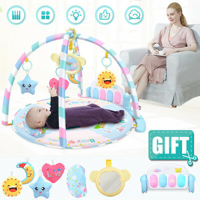 7 Mode Baby Gym Play Mat Lay & Play Fitness Music And Lights Fun Piano Boy Girl