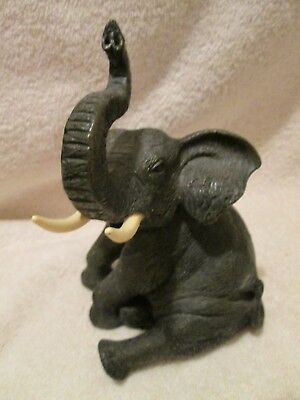 """Elephant Black Resin Sitting Trunk Up 8"""" Tall Sold at HOBBY LOBBY AS IS"""
