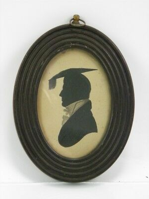 Silhouette portrait painting of a gentleman mortarboard antique 19th century 29