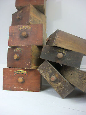 Antique Apothecary Chemist Grocer Drawers Original Paint And Labels