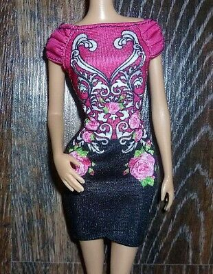 ❤️Barbie Doll Clothes - Fashionistas Style 2013 Black Pink Dress❤️