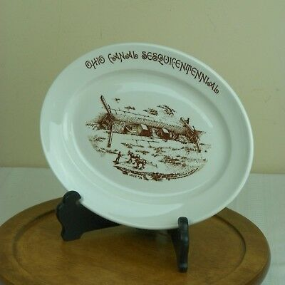 Walker China Ohio Canal Sesquicentennial Platter Boat Lock 14 Mule Bedford 1951