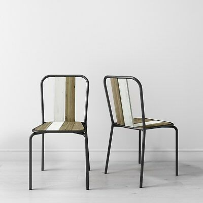 Kuta Wooden Pair of Dining Chairs- Industrial Style KUT006