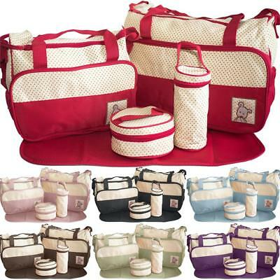 Baby Nappy Changing Bag 5pcs Set Diaper Bags Mommy Bag Shoulder Handbag Travel
