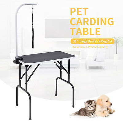 """32"""" Heavy Duty Portable Grooming Table Dog Cat Pet w/Adjustable Arm&Noose Large"""