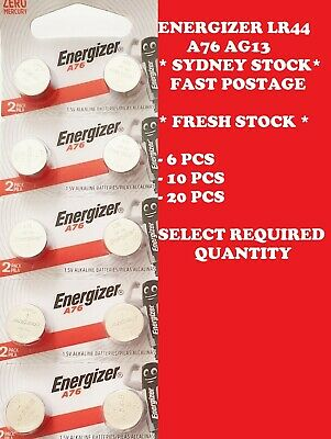 6-10-20 X PCS Energizer LR44 A76 AG13 Battery 1.5V Cell Button EXPIRY 11/2020