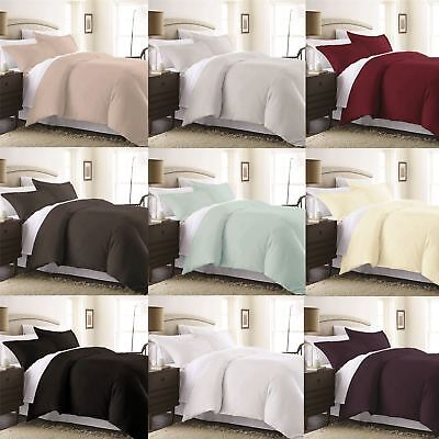 Percale Plain Dyed Duvet Quilt Cover With Pillow Case Bedding Set Easy Care