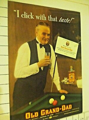 1937 Sporting Billiards / Pool Old Grand Dad Bourbon Whiskey Vintage Ad S01