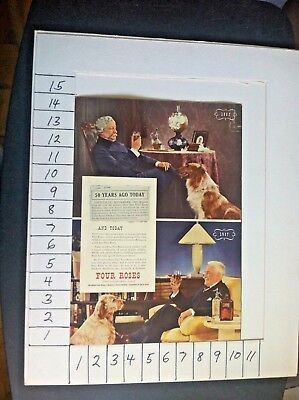 1937 Sitting Dogs Four Roses Whiskey Vintage Advertising Print Ad S03
