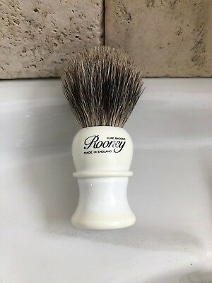 R.A. Rooney Shaving Brush, Small Badger Hair Shaving Brush In White