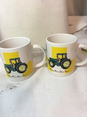 2 John Deere Green Tractor  Coffee Mug Cup by Gibson Nothing Runs Like a Deere